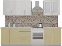 Готовая кухня ВерсоМебель ВерсоЛайн 3-2.2 (белый 001/персик 022) -