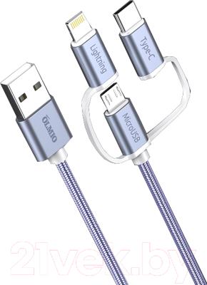 Кабель Olmio USB 2.0 - microUSB/Lightning/TypeC 2.1A / 038896