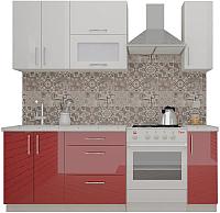 Готовая кухня ВерсоМебель ВерсоЛайн 4-1.5 (белый 001/бургундский 602) -