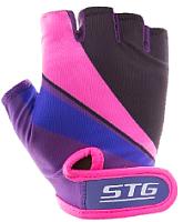 Перчатки велосипедные STG Х87909 (S, фиолетовый/черный/розовый) -
