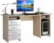 Компьютерный стол MFMaster Милан-6 / МСТ-СДМ-06-СБ-ГЛ (дуб сонома/белый) -