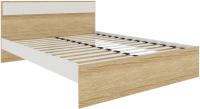 Двуспальная кровать АТЛАНТ Next-73 160x200 (дуб сонома/белая аляска) -