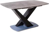 Обеденный стол Седия Adagio 140-180x90x75 (бетон/черный) -