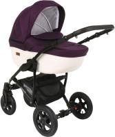 Детская универсальная коляска Pituso Confort 2 в 1 (темно-фиолетовый/кожа белый) -