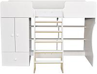 Кровать-чердак Можга Капризун 1 со шкафом / Р445 (белый) -
