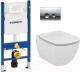 Унитаз подвесной с инсталляцией Ideal Standard Tesi T007901 + T352701 + 458.124.21.1 -