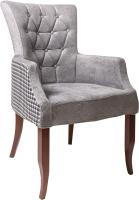 Кресло мягкое ФорестДекоГрупп Хорт (Roma-66/Ramir-11, черно-коричневый/белый) -