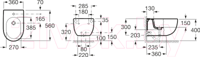 Биде подвесное Roca N-Meridian А357245000 + 8062A2004
