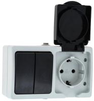 Блок выключатель+розетка КС Дабрабыт ОП 16А IP54 / 74845 (серый) -