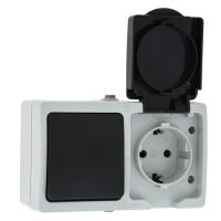 Блок выключатель+розетка КС Дабрабыт ОП 16А IP54 / 74844 (серый) -