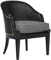 Кресло мягкое Alesan Стайл (эмаль черная/искусственная кожа черный/ткань чёрно-белая) -