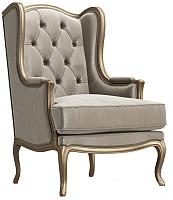 Кресло мягкое Alesan Агатти (золотая патина/велюр бежевый) -