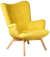 Кресло мягкое Alesan Angel (натуральный бук/мирковелюр жёлтый) -