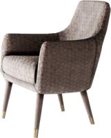Кресло мягкое Alesan Макао (ткань с золотыми стаканчиками/велюр бежевый) -