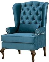 Кресло мягкое Alesan Лорд (орех лак/велюр сине-голубой) -
