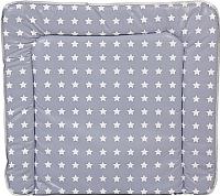 Пеленальный матрас Polini Kids Звезды мягкая 77x72 (белый/серый) -