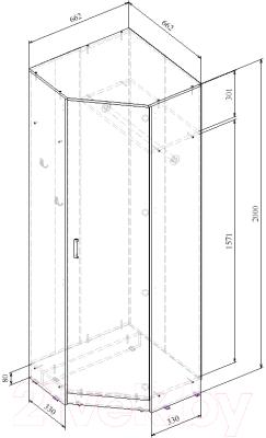 Шкаф MFMaster Ольга (662) / МСТ-ПДО-ШУ-ВД-З2 (венге/дуб молочный)