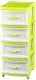 Комод пластиковый Эльфпласт Классика 4 (светло-бежевый/салатовый) -