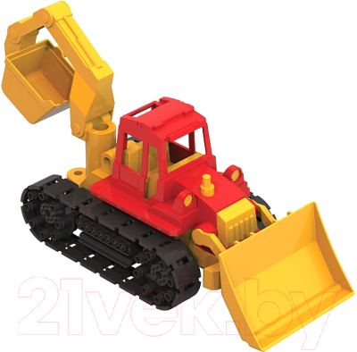 Трактор игрушечный Нордпласт Байкал с грейдером и ковшом / 139
