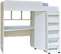 Кровать-чердак Можга Капризун 5 с рабочей зоной / Р440 (белый) -