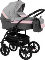 Детская универсальная коляска Alis Alvaro 2 в 1 (Al 03 темно-серый/светло-серый/розовая кожа) -