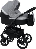Детская универсальная коляска Alis Alvaro 2 в 1 (Al 04, темно-серый/светло-серый/белая кожа) -