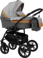 Детская универсальная коляска Alis Alvaro 2 в 1 (Al 05, темно-серый/светло-серый/рыжая кожа) -