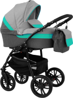Детская универсальная коляска Alis Alvaro 2 в 1 (Al 01, темно-серый/светло-серый/бирюзовая кожа) -