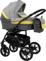 Детская универсальная коляска Alis Alvaro 2 в 1 (Al 02, темно-серый/светло-серый/желтая кожа) -