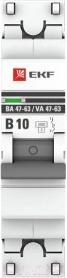 Выключатель автоматический EKF PROxima ВА 47-63 1P 10А (B) 4.5kA / mcb4763-1-10B-pro