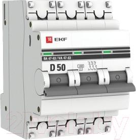 Выключатель автоматический EKF PROxima ВА 47-63 3P 50А (D) 4.5kA / mcb4763-3-50D-pro