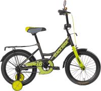 Детский велосипед Black Aqua Fishka 18 KG1827 со светящимися колесами (хаки/лимонный) -