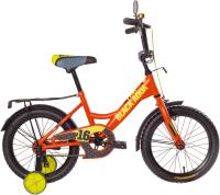 Детский велосипед Black Aqua Fishka 16 KG1627 со светящимися колесами (оранжевый неон) -