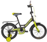 Детский велосипед Black Aqua Fishka 16 KG1627 со светящимися колесами (хаки/лимонный) -