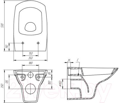 Унитаз подвесной с инсталляцией Cersanit Carina New Clean On S-MZ-CARINA-COn-DL-w + 38721001