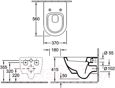 Унитаз подвесной с инсталляцией Villeroy & Boch Subway 2.0 5600-10-01 + 9M68 S101 + 38721001