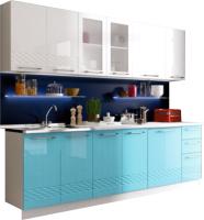 Готовая кухня Rikko Кристалл 2.0 (белый/бонди металлик) -