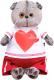 Мягкая игрушка Budi Basa Басик в футболке с сердцем / Ks19-139 -