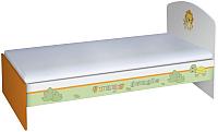 Односпальная кровать Polini Kids Basic Джунгли 90x180 (белый/оранжевый) -