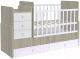 Детская кровать-трансформер Polini Kids Simple 1100 с комодом (вяз/белый) -