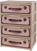 Комод пластиковый Эльфпласт Elegance с рисунком (чемоданы, бежевый) -