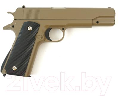 Пистолет страйкбольный GALAXY G.13D пружинный (6мм, песочный)
