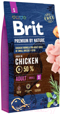 Корм для собак Brit Premium by Nature Adult S / 526291