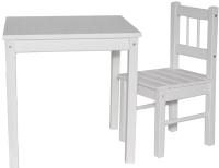 Комплект мебели с детским столом ВудГрупп 50x50x50 и 1 стульчиком (белый) -