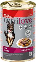 Корм для собак Nutrilove Beef, Liver&Vegetable in jelly (415г) -