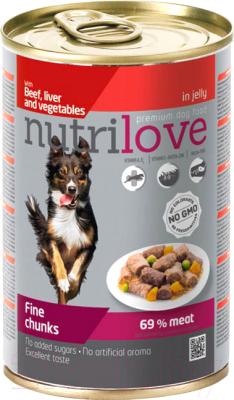 Корм для собак, 12 шт. Nutrilove Beef, Liver&Vegetable in jelly