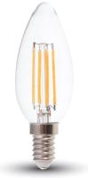 Лампа V-TAC 4 ВТ 400LM E14 2700K SKU-4301 (свеча, прозрачное стекло) -
