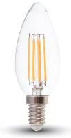 Лампа V-TAC 4 ВТ 400LM E14 4000K SKU-4413 (свеча, прозрачное стекло) -