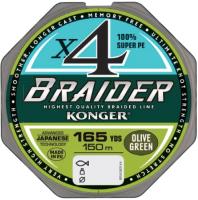 Леска плетеная Konger Braider X4 Olive Green 0.14мм 150м / 250146014 -