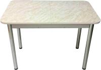 Обеденный стол Solt Мила 3 (мрамор белый/ноги круглые хром) -